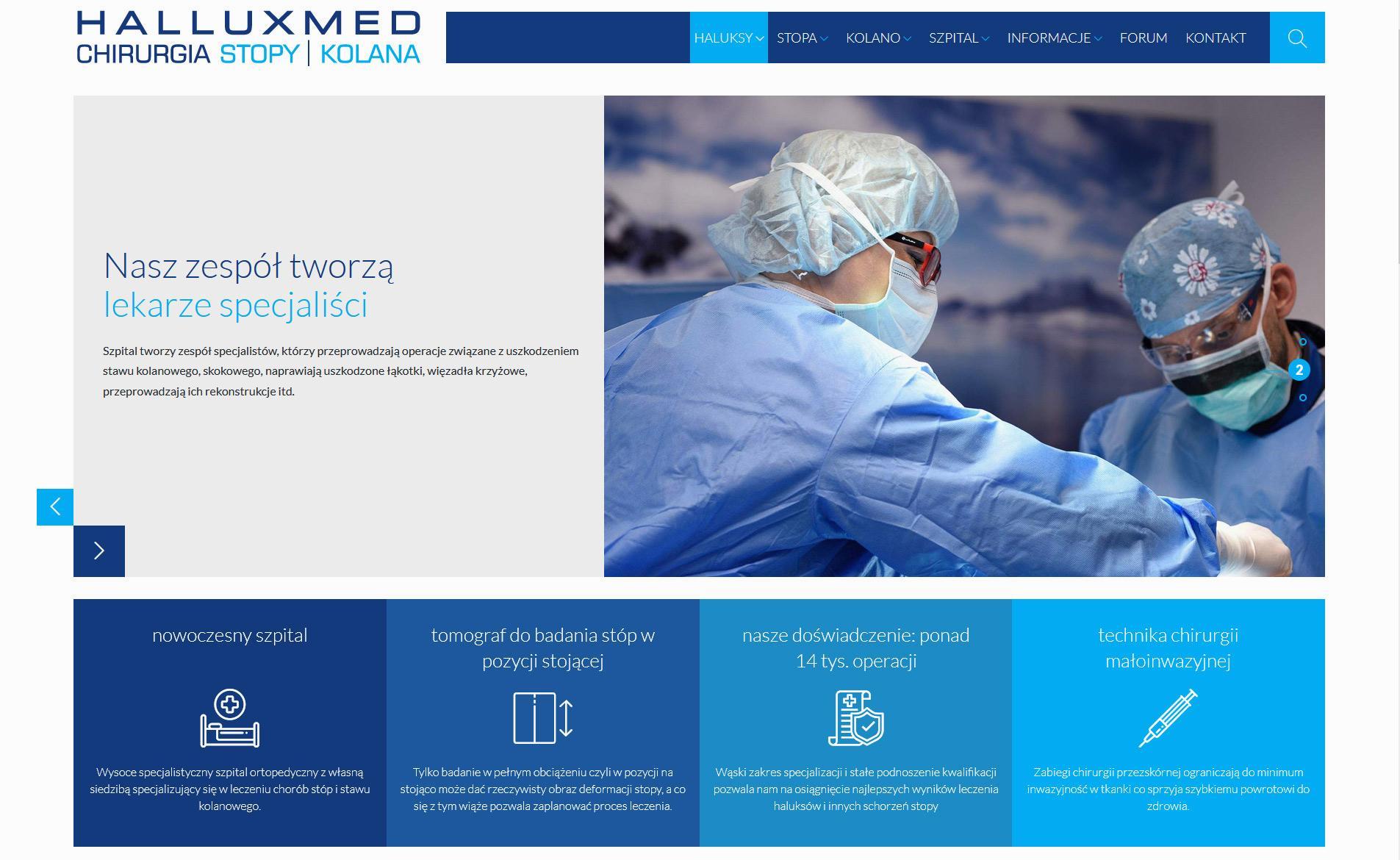 Strona internetowa szpitala Halluxmed